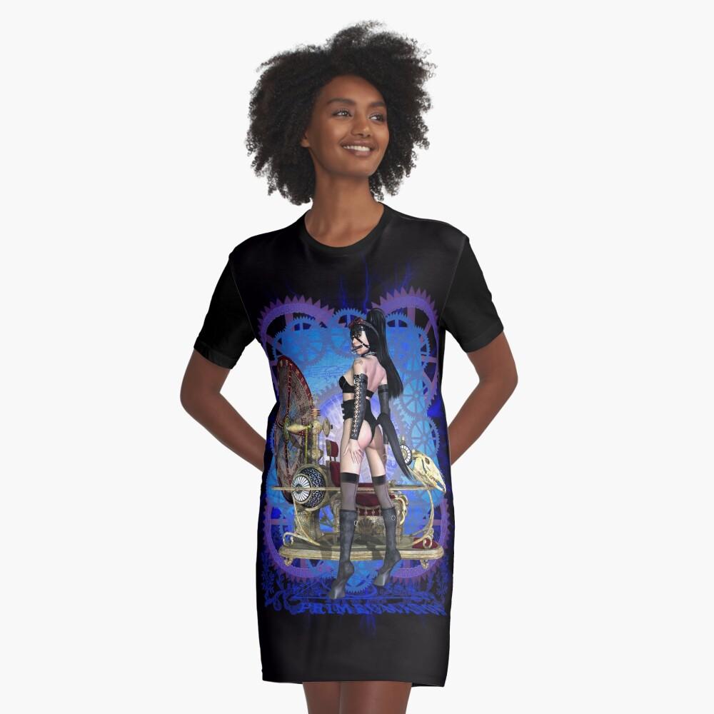 Steampunk Pony Girl Time Machine Graphic T-Shirt Dress