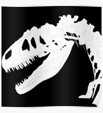T-Rex Skeleton White Poster