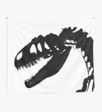 T-Rex Skeleton Black Wall Tapestry