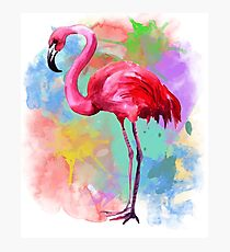 Pink Flamingo Watercolor T-shirt Flamingo Lovers Bird Shirt Photographic Print