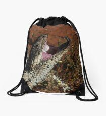 blue tongue lizard Drawstring Bag