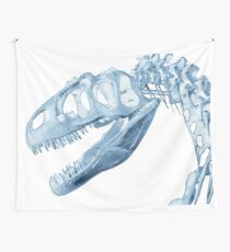 T-Rex Skeleton Blue Wall Tapestry