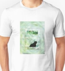 Black Cat Looking out a Window Impression Unisex T-Shirt