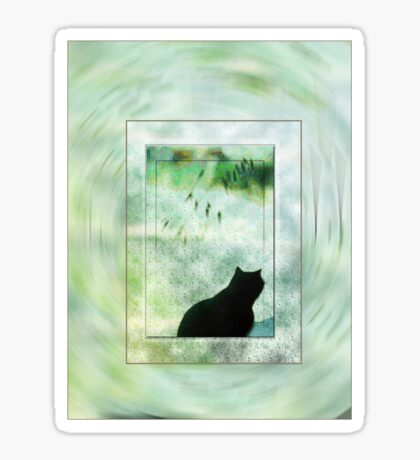 Black Cat Looking out a Window Impression Sticker