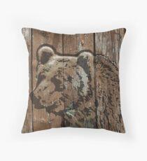 Rustic wooden burned brown bear Throw Pillow