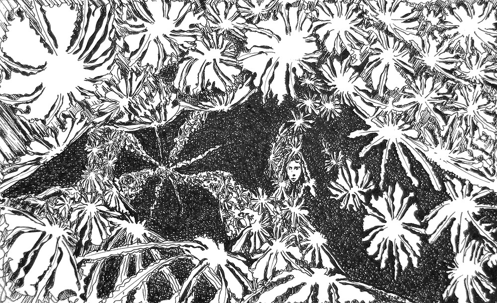 """Lady of the Flowers - ink on paper - 7"""" x 5"""" by Dave Martsolf"""