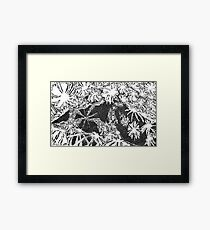 "Lady of the Flowers - ink on paper - 7"" x 5"" Framed Print"