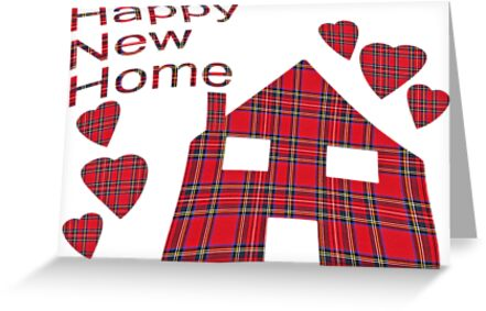 Happy New Home Tartan Greeting Card by simpsonvisuals
