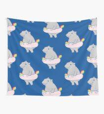 Hippopotamus with hippo-unicorn Inflatable Wall Tapestry