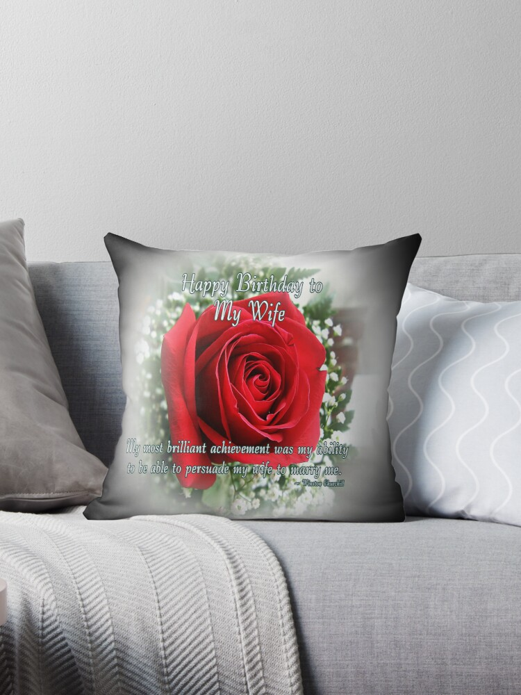 Quot Wife Birthday Quot Throw Pillows By Greeting Cards By Tracy