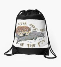 Hairy Otter and The Order of the Fish Drawstring Bag