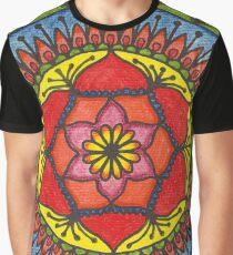 Floral Mandala - Red Rose Graphic T-Shirt