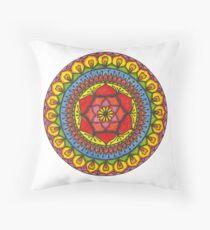 Floral Mandala - Red Rose Throw Pillow