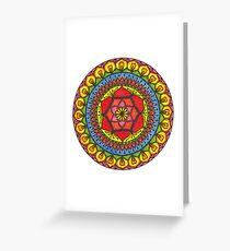 Floral Mandala - Red Rose Greeting Card