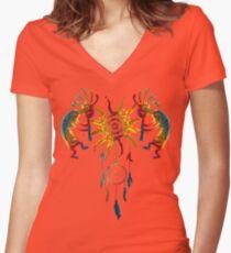 Kokopelli Duo - Sun Dreamcatcher I Women's Fitted V-Neck T-Shirt