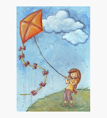 Flying a kite Photographic Print