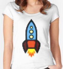 Pixel art rocket retro Women's Fitted Scoop T-Shirt