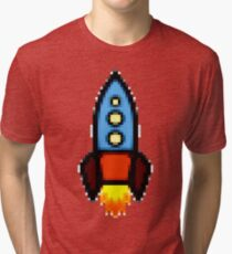 Pixel art rocket retro Tri-blend T-Shirt