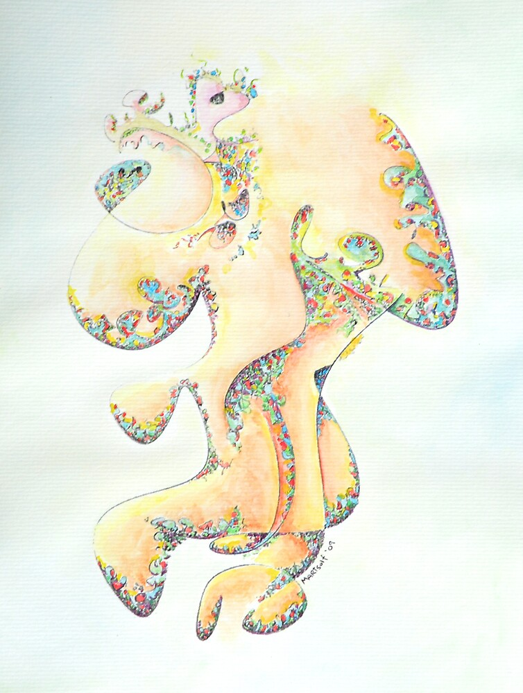"Gold Bejeweled Fertility Goddess - watercolor - 8"" x 10"" by Dave Martsolf"