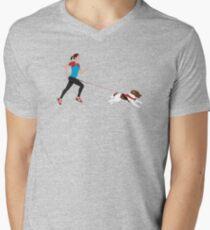 Canicross - Woman and Springer Spaniel Men's V-Neck T-Shirt