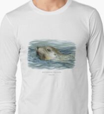 Australian Sea Lion illustration Long Sleeve T-Shirt