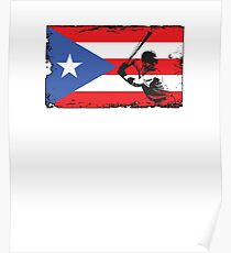 Puerto Rico Flag Baseball Player V4 Poster