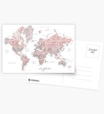 Explore - Dusty pink and grey watercolor world map, detailed Postcards