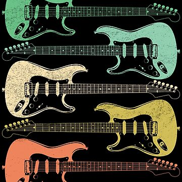 Electric Guitar Retro Distressed Design by kudostees
