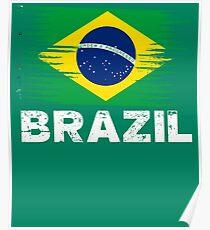Brazil Distressed Flag Poster