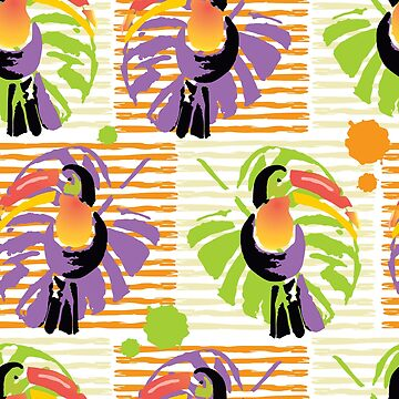 Exotic tropical bird toucan and palm leaves on a stripes background. by TrishaMcmillan