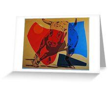 Running Bull Greeting Card