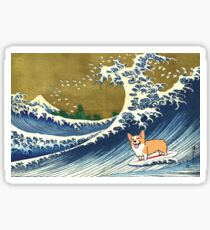 Corgi dog surfing The Great Wave  Sticker