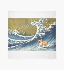 Corgi dog surfing The Great Wave  Scarf
