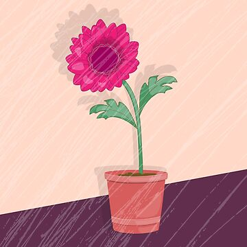 grunge card with dahlia in the pot by AlinNova