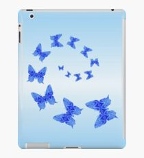 Butterflies Are Free To Fly Monochrome Light Blue iPad Case/Skin