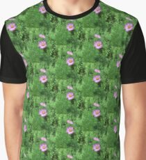 Pink Cosmos Flowers with Foliage Background Graphic T-Shirt