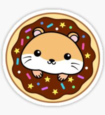 Hamster Loves Chocolate Donuts Sticker