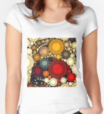 Multi Color Bubble Distressed Abstract Art  Women's Fitted Scoop T-Shirt