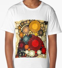 Multi Color Bubble Distressed Abstract Art  Long T-Shirt