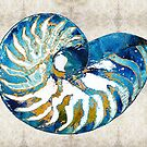 Beach Art - Nautilus Shell Bleu - Sharon Cummings Artist by Sharon Cummings