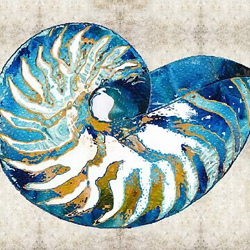 Beach Art - Nautilus Shell Bleu - Sharon Cummings Artist by SharonCummings