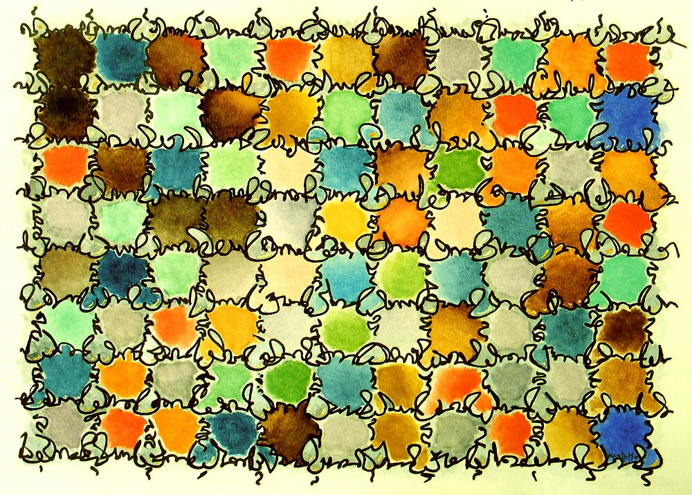 """Stained Glass Window - watercolor - 15"""" x 11"""" by Dave Martsolf"""