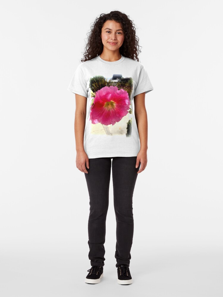 Alternate view of Hollyhock from A Gardener's Notebook Classic T-Shirt