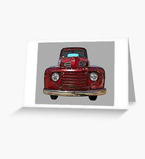 Red Vintage Truck 1940s Greeting Card