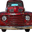 Red Vintage Truck 1940s by RetroArtFactory