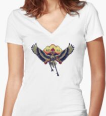 TOKYO JAPAN - Japanese Crane tattoo design Women's Fitted V-Neck T-Shirt