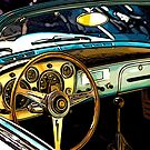 Turquoise Classic 1960's Convertible by RetroArtFactory