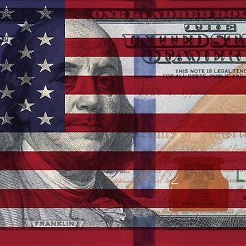 American Flag $100 Dollar Bill  by joehx