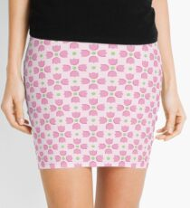 Pink Tulip Pattern with Green Dots Mini Skirt