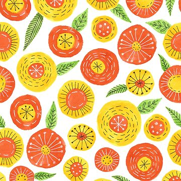 bright simple flower pattern in orange and yellow with tiny green leaves by swoldham